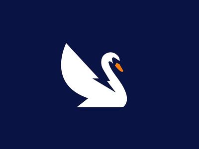 electric swan negativespace electric swan bird design animal creative clever simple minimal logo