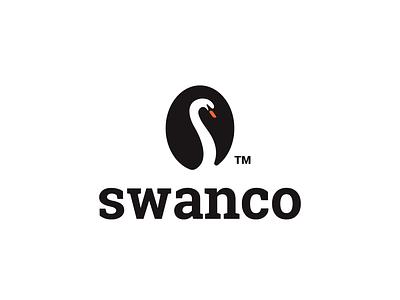 swanco (coffee) negativespace bean drink coffee swan bird design animal creative clever simple minimal logo