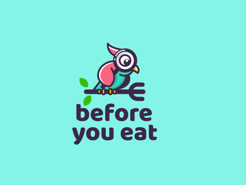 before you eat scan food fork owl bird design animal creative clever simple minimal logo