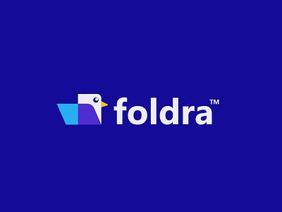 foldra student manage app book office paper file document folder bird design creative clever simple minimal logo