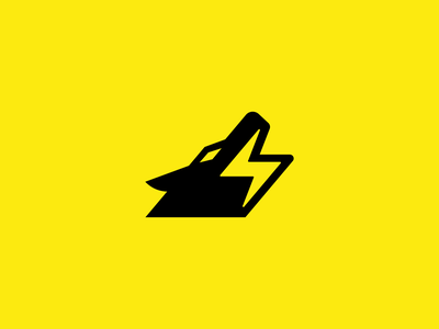 wolf electric spark light wild bolt electricity electric wolf animal design creative clever simple minimal logo
