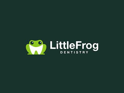 little frog dentistry cute animal dentistry dentist dental frog design creative clever simple minimal logo