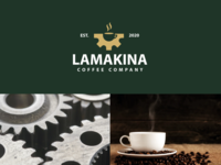 lamakina coffee coffeeshop coffee bean coffe cup negativespace machine design creative clever simple minimal logo