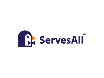 ServesAll service app service bowtie tie waiter penguin bird animal design creative clever simple minimal logo