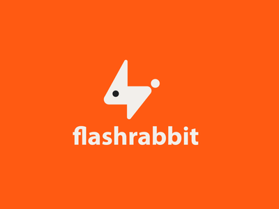 flashrabbit electricity electric thunder bolt flash speed fast rabbit animal design creative clever simple minimal logo
