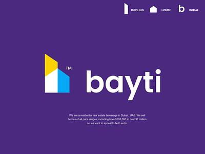 bayti colorful monogram agency real estate brokerage home house building design creative clever simple minimal logo
