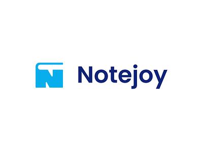 Notejoy task paper speak chat talk communicate joy note book design creative clever simple minimal logo
