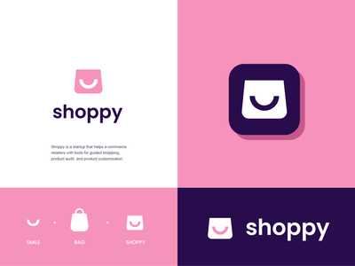 shoppy store client buy sell bag ecommerce shopping shopper design creative clever simple minimal logo