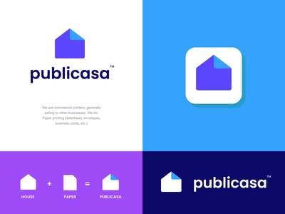 publicasa folder paper roof modern abstract logo mark icon spanish print printing publication publishing home house design creative clever simple minimal logo