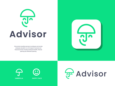 advisor insurance face joy life happy safe umbrella advisor advice consultancy consulting insurance design creative clever simple minimal logo