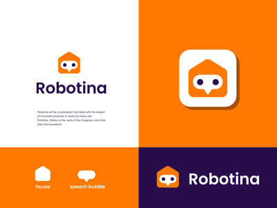 robotina chatbot chat techno robot girl woman housekeeper home house design creative clever simple minimal logo