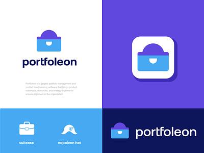 portfoleon software managment file document brief case suitcase portfolio design creative clever simple minimal logo
