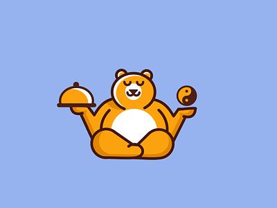 kitchen guru food kitchen playful cartoon fun minimal simple logo clever bear
