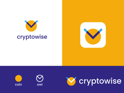 cryptowise v1 education student wise owl crypto minimal modern abstract branding logo