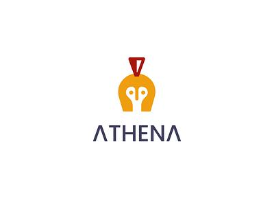 athena logo creative simple minimal negativespace godess warrior helmet owl athena
