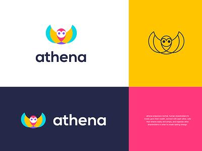 athena colorful geometric free fly wisdom wise owl animal design creative clever simple minimal logo