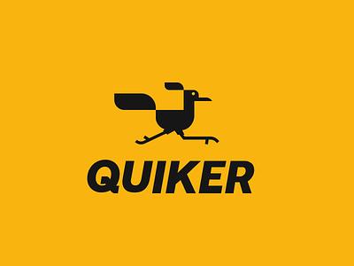 Quicker quick fast speed road runner car bird animal design creative clever simple minimal logo