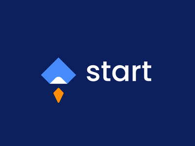 start growth success paper rocket arrow start design creative clever simple minimal logo