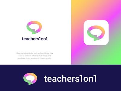 teachers1on1 design creative clever simple minimal logo community speak communication chat mind brain teach learn online school student teacher