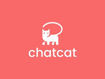 chat cat pet animal negativespace speach bubble chat cat design creative clever simple minimal logo