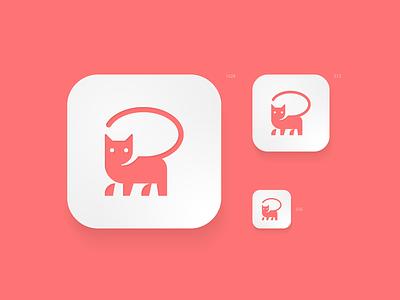 chatcat negative space speach bubble chat pet cat icon app animal design creative clever simple minimal logo