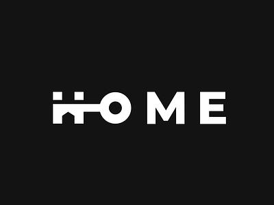 HOME negative space key house home wordmark design creative clever simple minimal logo