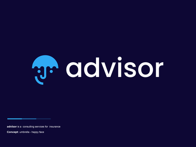 advisor head face happy insurance umbrella design creative clever simple minimal logo