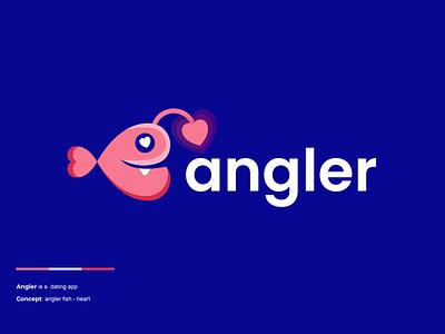 angler animal branding design clever creative simple minimal logo heart couple dating love fish angler