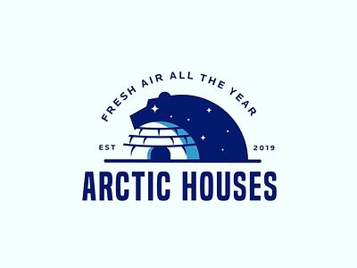 Arctic houses air house polarbear arctic animal creative clever minimal simple logo bear