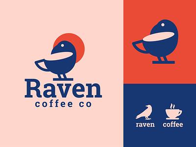 raven coffee coffee raven bird creative clever minimal simple logo