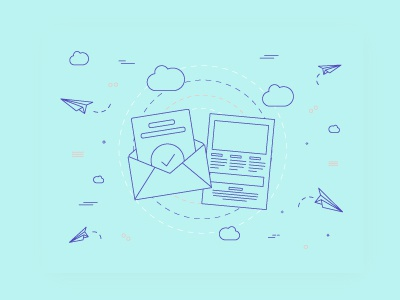 Email / Newsletter illustration waves lines shapes cloud paper airplane mail newsletter email