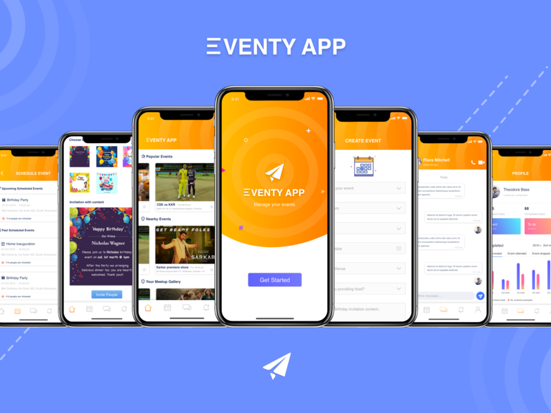 Eventy Onboard design screen mockup onboarding flow event event app calendar analytic message chat thoughts uiux typogaphy sketch gradient invitation card invitation app ios mobile app
