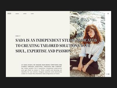 SADA STUDIO — Style Frames // 002 web design fashion studio interfacedesign web designer inspiration serif font uiux photography product design figma daily ui user interface design