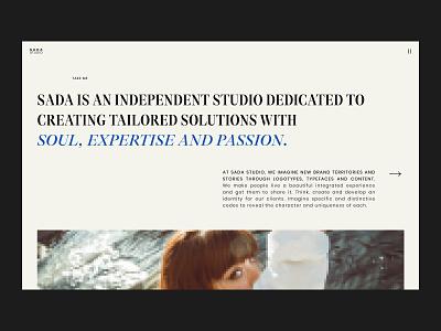 SADA STUDIO — Style Frames // 003 web design fashion studio interfacedesign web designer inspiration serif font uiux photography product design figma daily ui user interface design