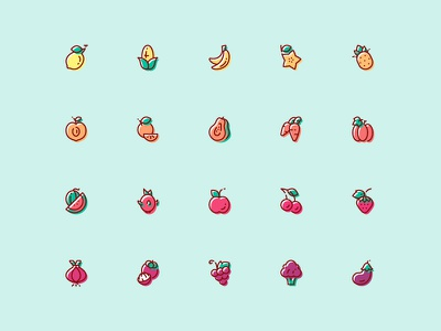 Fruit & Vegetable Icon - Free Download cute color vector apple banana orange download free icon vegetable fruit