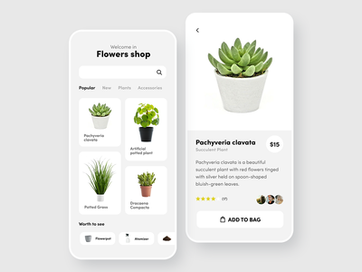 Flowers Shop 🌿- Mobile App Store adobexd minimialism dailyui uidesign uiux ux ui design ui store shop phone app mobile minimal ios ecommerce design concept application app design app
