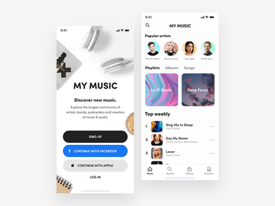 My Music - Music Player App 🎵 🤘 mobile app music app tidal spotify clean music player simplicity modern apple music user interface playlist mobile player music app design app ux ui uidesign ui design