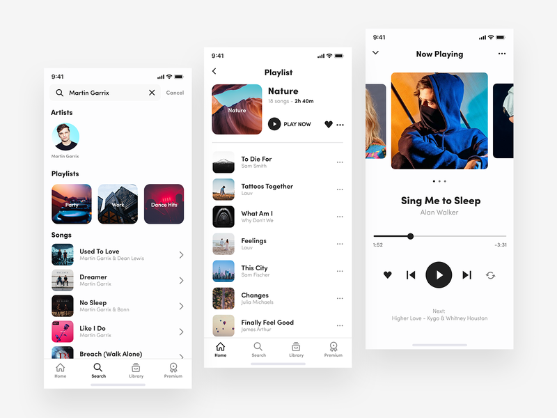 Music Player - UI Mobile App 🎵🤘 ux user interface ui design uidesign ui tidal spotify simplicity playlist player music player music app music modern mobile app mobile clean apple music app design app