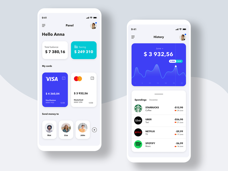 Budget Manager 💵 - Mobile App Concept for bank aplication app design ui design clean user interface uiux minimal mobile concept stats budget wallet bank money ios ui uidesign ux app
