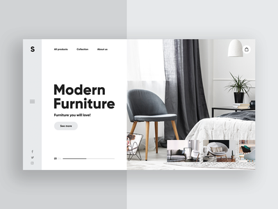 Modern Furniture 🛋️- Clean Website Concept design webdesign ui design lp uiux header landingpage ux ui uidesign hair luxury homepage minimalism shop slider store website interior concept