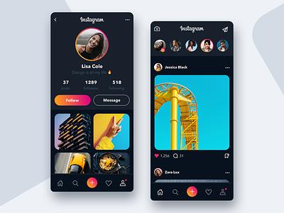 Instagram Dark Mode 📸- Mobile App Concept ux design user interface user experience uiux uidesign ui design redesign profile mobile app mobile gradient dark dailyui daily ui application app design app ux ui