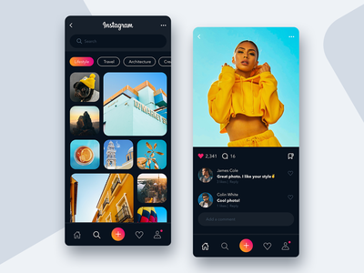 Instagram Dark Mode 2/2 📸- Mobile App Concept