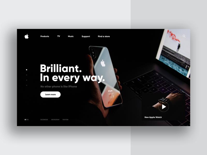 Apple Store 🖥- ReDesign Website Concept black website webdesign uiux ui design uidesign ux ui store apple slider shop minimalism luxury lp landingpage homepage header concept redesign