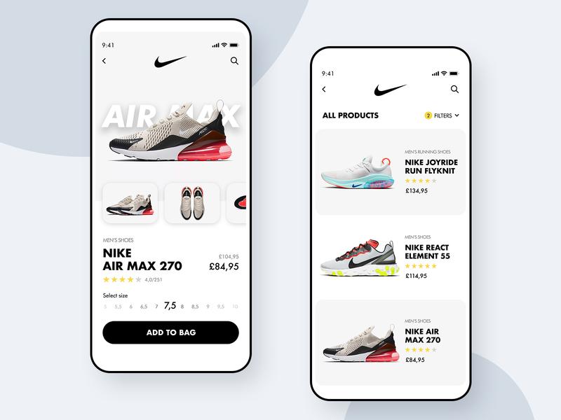Nike Store 👟- Mobile App Concept white minimalism clean ui dailyuichallenge dailyui shoes shopping app userinterface ui design uidesign ui ux ios app design nike store concept mobile application app
