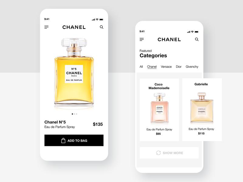 Perfume Shop 💐- Mobile App Concept product trendy luxury elegant sell store uiux ui ecommerce app perfume dailyui daily ui concept uidesign ui design mobile application app shop app design