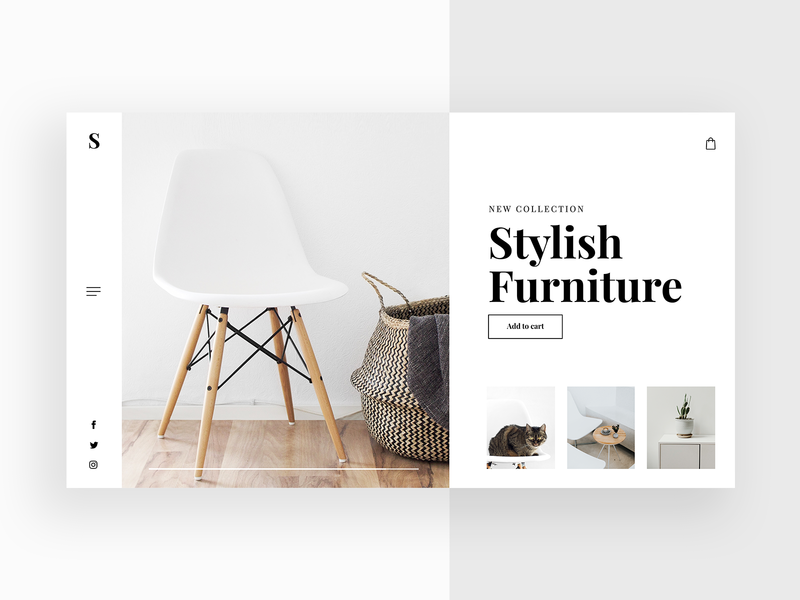 Stylish Furniture💺 - Clean Website Concept uidesign redesign furniture 2d website webdesign uiux ui design store slider shop minimalism luxury lp landingpage interior homepage header design concept
