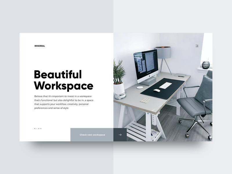 Beautiful Workspace 🖥️ - Minimal Website Concept minimalism minimal web slider 2d design concept header homepage landing page shop ux ui store ui design uiux webdesign website redesign uidesign