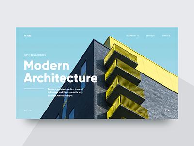 Modern Architecture 🏢 - Clean Website Concept redesign website webdesign uiux ui design store ui ux shop minimalism ecommerce landing page homepage header concept design 2d slider web minimal