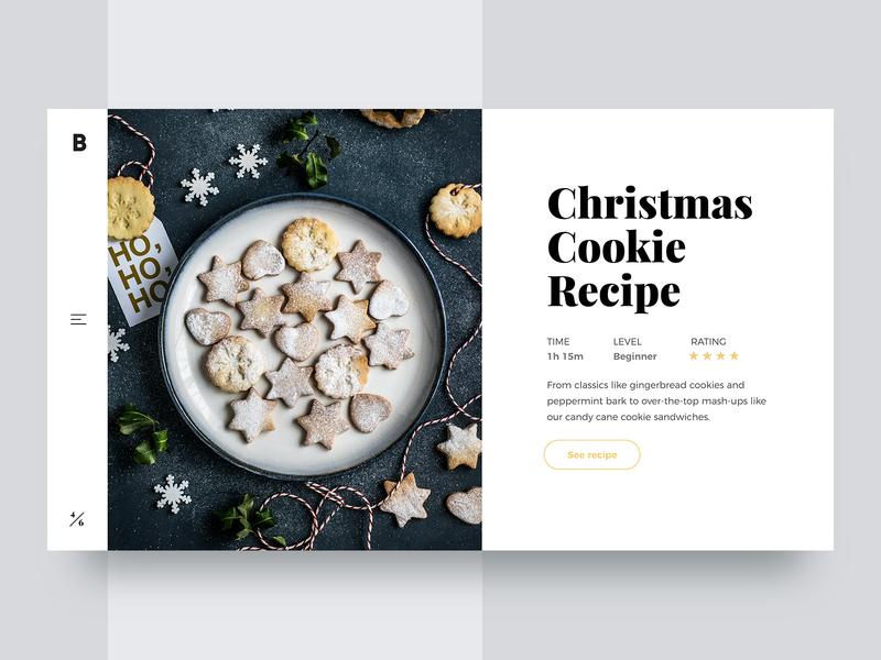 Christmas Cookie Recipe 🎄- Minimal Website Concept website webdesign web ux uiux ui design uidesign ui store slider shop redesign minimalism minimal landing page homepage header design concept 2d
