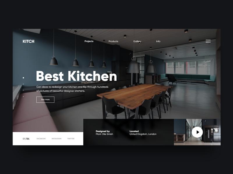 Best Kitchen 🔪 - Clean Website Concept uidesign website webdesign web ux uiux ui design ui kitchen slider shop redesign minimalism minimal landing page homepage header design concept 2d